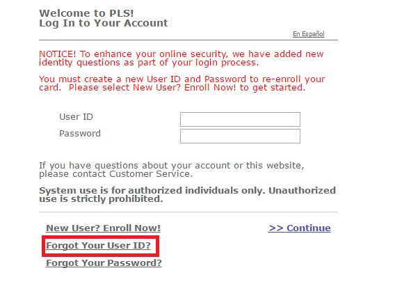 PLS Xpectations Card Login Recover User ID Password