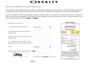 Oakley.Com-Official Oakley Survey