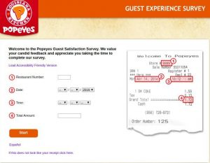 what does popeyes validation code look like