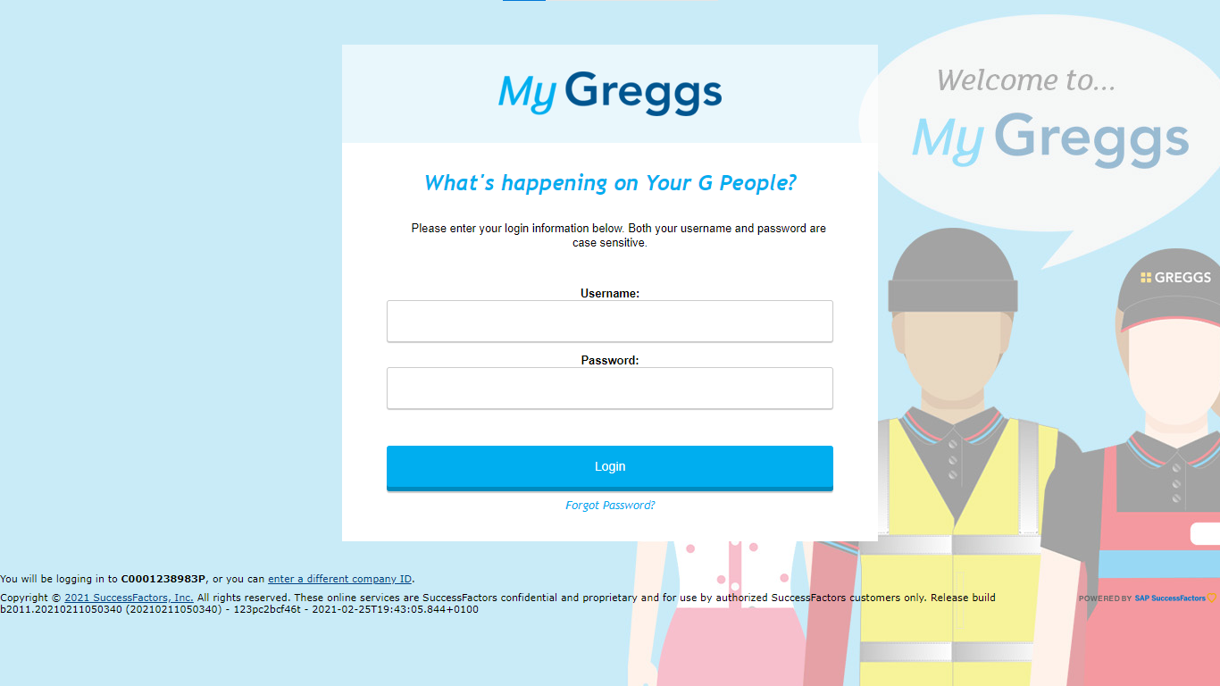 Your G People- Greggs Employee Login page