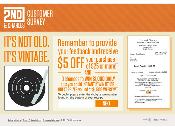 2nd and Charles Customer Service Survey