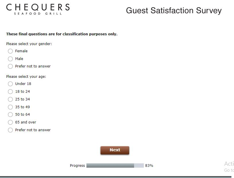 Chequers Seafood Grill Survey At www.Chequersfeedback.com