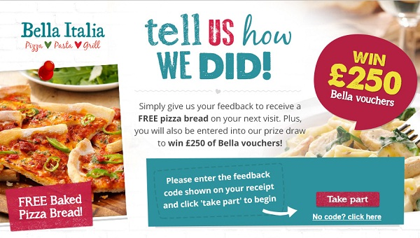 Take Bella Italia Survey @ www.bellaitalia-feedback.com