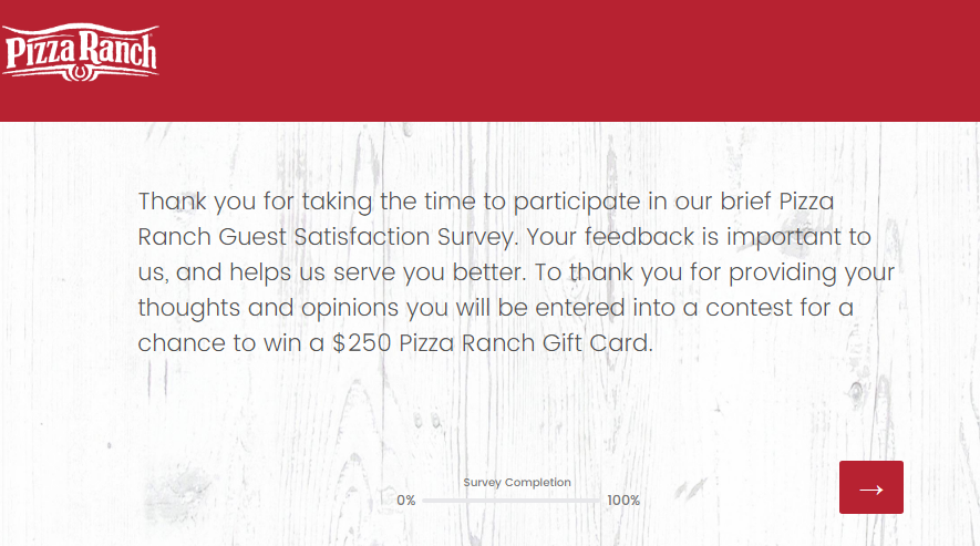 Pizza Ranch Survey-Win A $250 Gift Card Pizza Ranch Survey-Win A $250 Gift Card